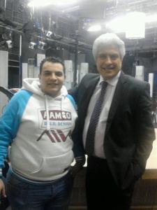 الإعلامي وائل الإبراشي مع الصحفي جرجس ابراهيم مراسل جود نيوز بالقاهرة