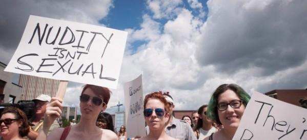 """تظاهرة في كندا تضامناً مع الأخوات """"محمد""""، وحق النساء في السير عاريات الصدر"""